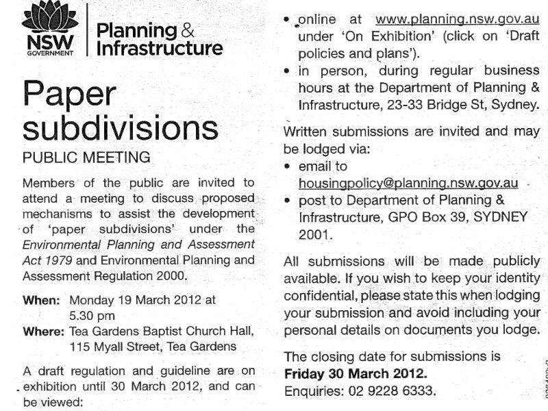 Paper Subdivisions Public Meeting North Arm Cove
