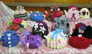 Some of the tea cosies on display